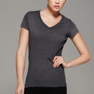 Michael Stars OS Gray Stripe V Neck Tee